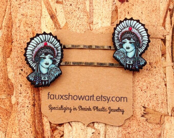 Native American Hair Pin - Indian Hairpin - Native American Woman - Vintage Tattoo - Woman - Blue - Red - Black - Hairpin - Shink Plastic