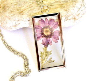Pressed Flower Jewelry Terrarium Necklace Dried Plum Purple Daisy Unique Gift Glass Pendant Nature Jewelry Gift Silver Tone Frame Necklace