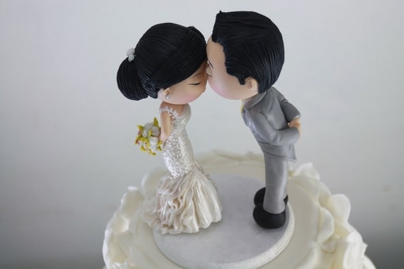 Items Similar To Cute Couple Kiss Wedding Cake Topper