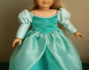 "Ariel, the Little Mermaid's green ball gown. Fits American Girl and other 18"" dolls."
