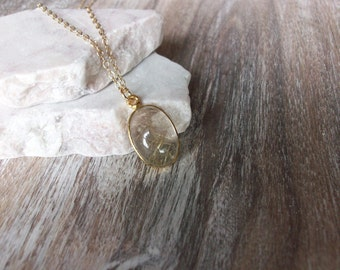 Gold Rutilated Quartz Necklace on Gold Chain Gold Rutilated Quartz Necklace Cool Quartz Jewelry Gemstone Jewelry Unique Quartz Pendant N0700