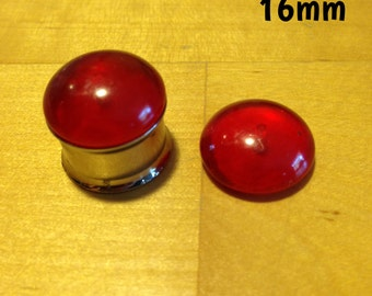 16mm red translucent dome plugs for stretched ears