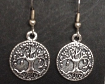 Silver tone tree of life surgical steel earrings
