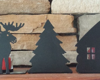 Combo: Three Black Metal Candle Holders and Two Wall Displays Decor 1990 D241-2