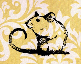 Mouse Stamp: Wood Mounted Rubber Stamp