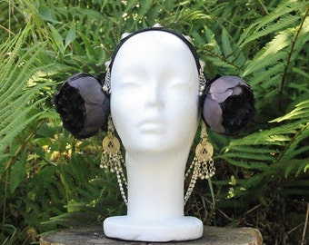 tribal headdress, black peony flower, headpiece, flower decoration, kuchi, Turkomen buttons