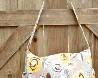 Yellow and Grey Floral Baby Bag, Shopping Bag, Organizer, Tote, Satchel, Crossbody, Diaper Bag