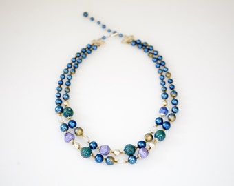 Blue Vintage Two-Stranded Necklace with Beading