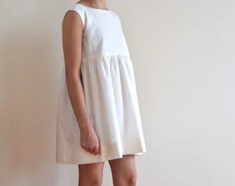 White dress with gold lines for girls-French handmade childrens clothing