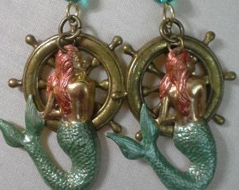 Sirens With Ship Wheel Earrings E 189