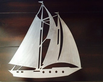 "Metal Sailboat Silhouette, Wall Hanging 15"" x 17"""