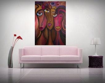 "Large Abstract paiting - ""Pink Faces"" (70x100cm) by Roxana Patricia Nita"