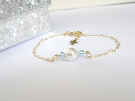 dainty cross bracelet baby boy christening bracelet 14k gold