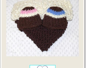 Newborn Baby Brown & Cream Knitted Layer Blankets/Wraps and Crochet Beanies Set