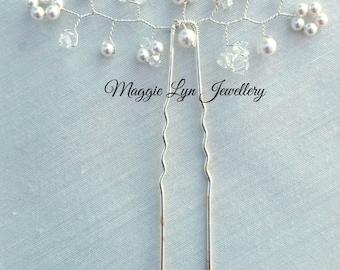 Elegant Bridal wedding hair pins. Swarovski crystals, ivory pearls. bride bridesmaids, flowergirl, accessory, jewellery, gypsophila bride UK