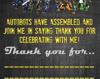 Transformers Thankyou Card