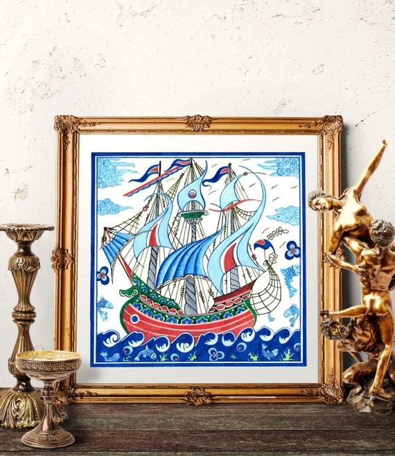 Https Www Etsy Com Listing 216163613 Turkish Ottoman Galleon Home Decor