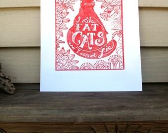 11x14 Fat Cat Print