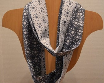 Blue/White Blossom Double Infinity Scarf