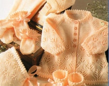 baby pram set matinee coat leggings bonnet hat mitts bootees lacy baby girls 16 18 20 22 inch 4 ply baby knitting patterns pdf download