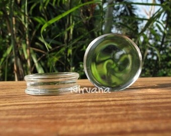 "Clear Crystal Color Pyrex Glass Plugs 14g 12g 10g 8g 6g 4g 2g 0g 00g 7/16"" 1/2"" 9/16"" 5/8"" 3/4"" 1"" 1.6 mm 2 mm 2.5 mm 3 mm 4mm 5 mm - 25 mm"