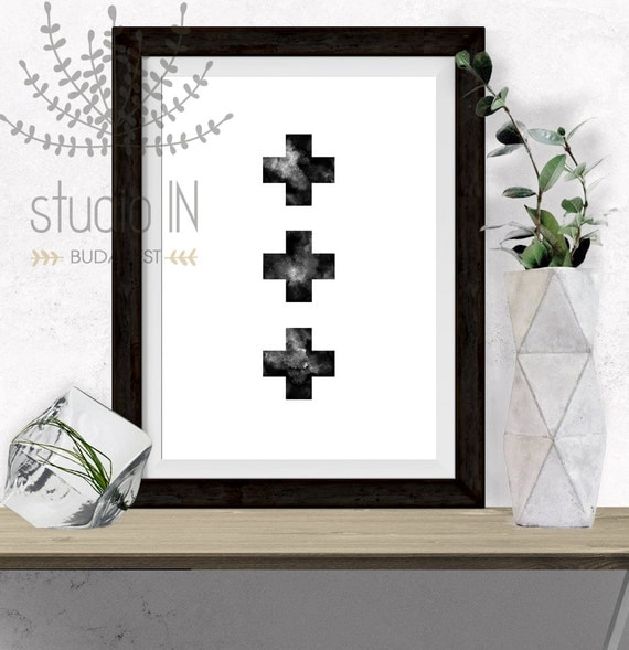 Black Cross Printable Modern Minimalist Scandinavian Decor