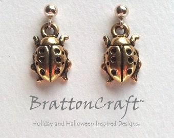 Gold Ladybug Earrings - Ladybug Earrings - Gold Ladybug Jewelry - Insect Earrings - Insect Jewelry - Bug Earrings - Epsteam