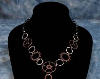 Gear & Lock Steampunk Necklace