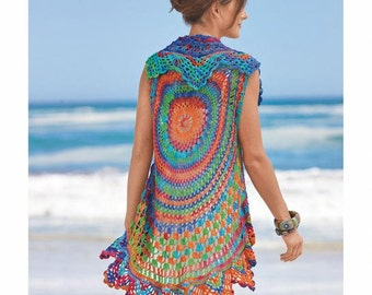 Crochet vest PATTERN, beach crochet vest, boho crochet vest, CHART and basic instructions in English, charts are not interpreted in words!