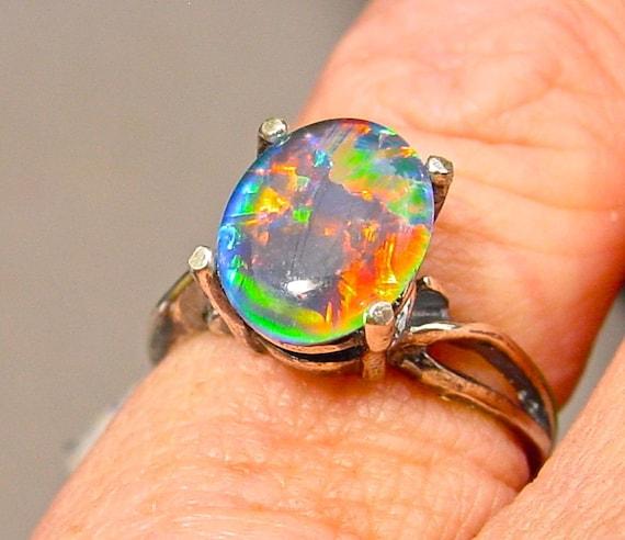 Handmade Opal Engagement cocktail Ring Natural Australian