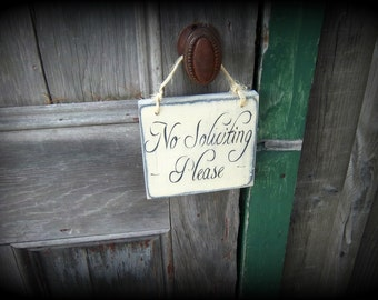 No Soliciting Sign/Rustic/Primitive/Hand painted/Wood Sign/Do not disturb sign