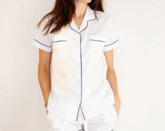Cotton Pajama Set- Classic White Short Sleeve with Navy Blue Trim