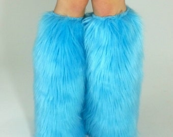 Light Blue Legwarmers *below-the-knee* FREE SHIPPING : Rave Fluffies, Furry Leg Warmers, Boot Covers Rave Fuzzies, Festivals, EDC, Insomniac