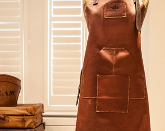 Full length heavyweight oiled leather chef's/workshop apron