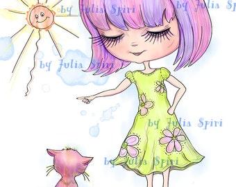 Digital Stamps, Scrapbooking printable, Digi stamps, Children's stamps, Digi, Cat stamps, Coloring pages, Line art. Girl & Guilty Kitten.