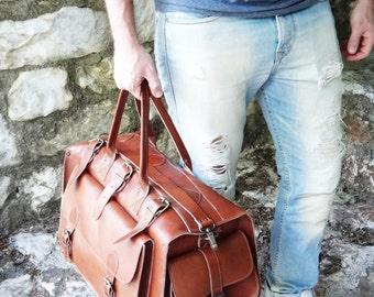 "SALE Apollo Weekender Original Leather Bag • 20""Handmade Full Grain in Tobacco • Waxed Brown or Dark Brown • Travel Duffel Bag"