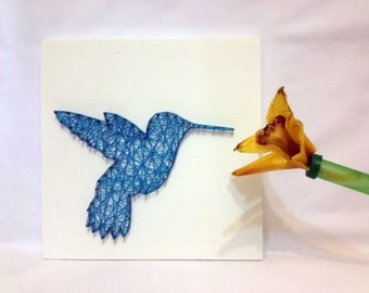 String Art Blue Bird Hummingbird Sign Wall Art Colibri Wall Decor