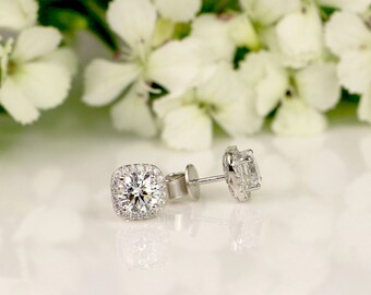 2 CT Halo Stud earrings, Sterling Silver, Bridal earings, Bridemaid earrings, Wedding, Birthstone, CZ studs, cubic zirconia studs