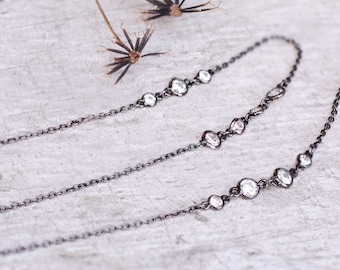 Station Necklace, Diamond Necklace, Long Necklace, Diamonds by the Yard, Layering Necklace, Layered and Long, CZ Necklace, Delicate N1306