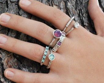 Stacking Rings, Set of 6 Silver Stack Rings, Gypsy Rings, Swarovski Rings, Serendipity Rings, Coachella Jewelry, Boho Rings, Ring Set R1120