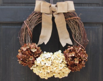 Fall Wreath for Front Door, Wreath for Fall, Grapevine Wreath, Fall Door Wreath with Faux Hydrangeas, Autumn Wreath, Fall Door Decoration