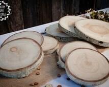 10 Aspen Tree Slices- 6-7 inch -  1.5 inch thick - Rustic Wedding Decor, Wedding Centerpiece, Wood Slab