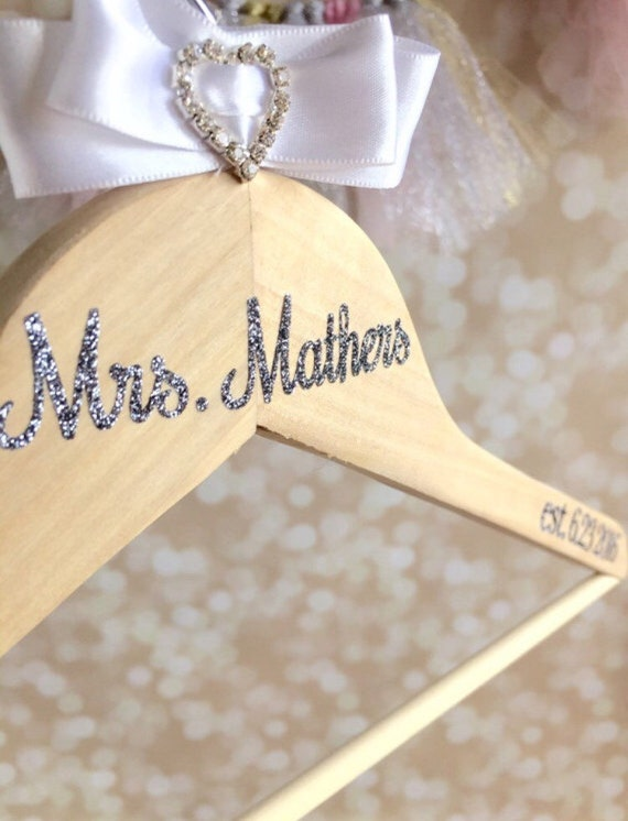 Wedding hanger personalized wedding dress accessory wood for Personalised wedding dress hanger