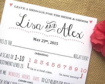 DIY Printable Custom Wedding Advice Card for the Bride and Groom / Guest Book Message for the Newlyweds