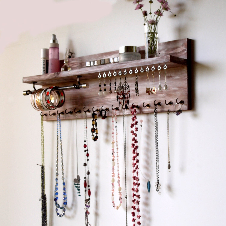 Jewelry Organizer With Shelf Earrings Display Wall Mounted