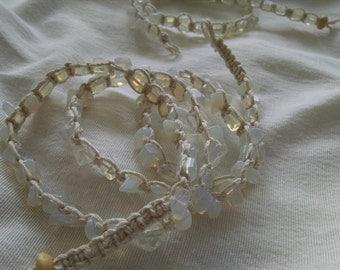 Moonstone Hemp Wrap Bracelet