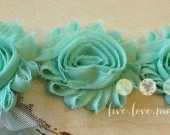 """2.5"""" Aqua-Blue-Green-Brook Green-Shabby Chiffon Flower Trim -Rose-Frayed Flower-Rosette trim-DIY-headband-hairband-1/2 yard-yd-seafoam green"""