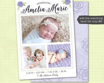 Birth Announcement / Baby Girl Birth Announcement / Photo Birth Announcement