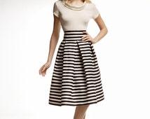 Amalfi Striped Midi Skirt / nautical stripes / fit and flare skirt / summer skirt / occasionwear