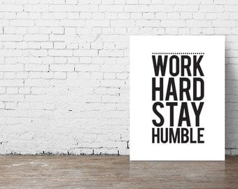 """Typography Poster """"Work Hard Stay Humble"""" Instant Digital Download, Printable Print, Motivational Inspirational Wall Art"""